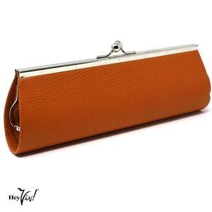 "Orange Clutch Purse 10"" Long - Classic Retro Style"